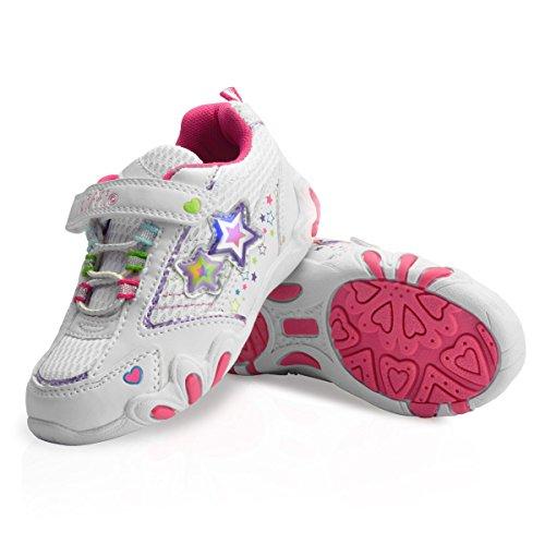 diMio -Star 2- Kinderschuhe mit Blinkfunktion in weiß/pink, Größe EU 25-31 (EU 25)