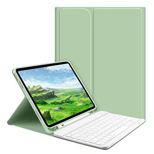 iPad Air 4 キーボード ケース GOOJODOQ 2020 iPad 10.9インチ専用キーボード付きケース Apple Pencilホルダー付き 脱着式 Bluetooth キーボード カバー シルク手触りカバー 角度調整 オートスリープ機能 全面保護 傷つけ防止 高級感タップリ (グリーン)