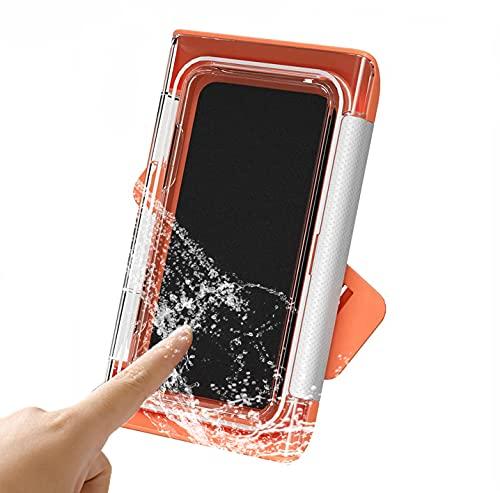 Soporte Impermeable para Teléfono para Ducha, Caja de Almacenamiento para Teléfono Montado en La Pared, Pantalla Táctil, Rotación de 180 °, para Teléfonos Móviles de Menos de 6,8 Pulgadas (Naranja)