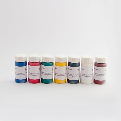 Farbpaste deckend Set 7 mal 20g Farbe schwarz, weiß, rot, grün, gelb, blau, rotbraun zum einrühren in Epoxidharz Standardfarben physiologisch unbedenklich