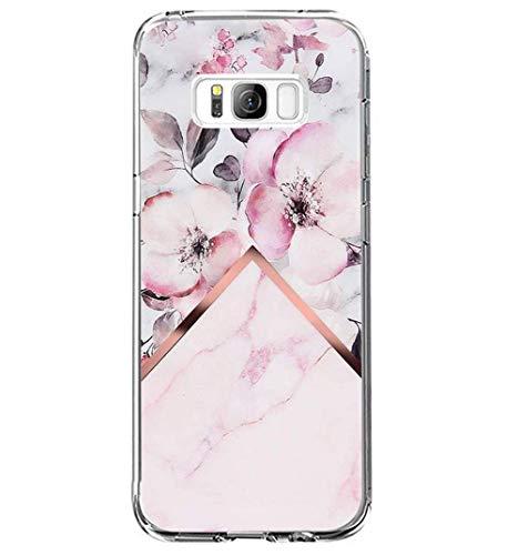 Riyeri Hülle Compatible with Samsung Galaxy S8 PlusHülle Klar Slim TPU Silikon Bumper Handyhülle für Samsung S8 Plus - Marmor & Blume (S8, 2)