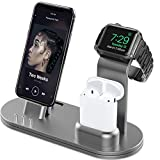OLEBR Aluminum Alloy Charging Stand Compatible with iWatch 5/4 Watch Charging Stand for AirPods, iWatch Series 5/4/3/2/1,iPhone 11/ Xs/X Max/XR/X/8/8Plus/7/7 Plus /6S /6S Plus/iPad-Space Gray