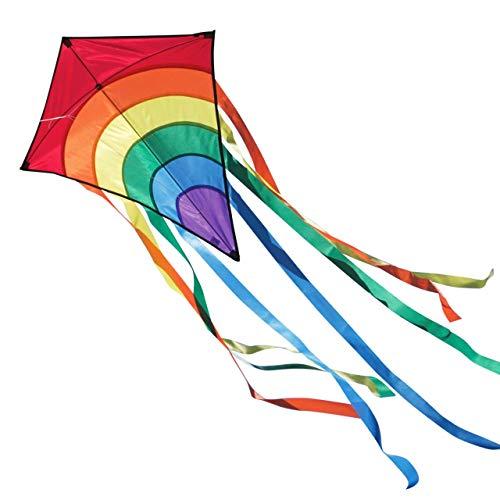 CIM Cerf-Volant monofil - Rainbow Eddy Red - pour Enfants à partir de 3 Ans - Dimensions : 65x74cm - INCL. Ligne de 80m, 8 queues Multicolores de 105cm