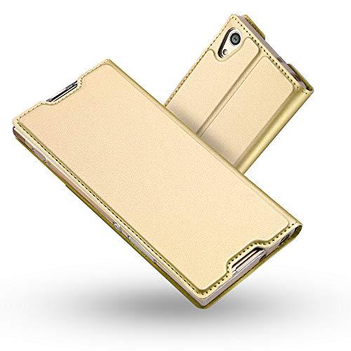 Radoo Sony Xperia XA1 Ultra Hülle, Premium PU Leder Handyhülle Brieftasche-Stil Magnetisch Folio Flip Klapphülle Etui Brieftasche Hülle Schutzhülle Tasche Hülle Cover für Sony Xperia XA1 Ultra (Gold)