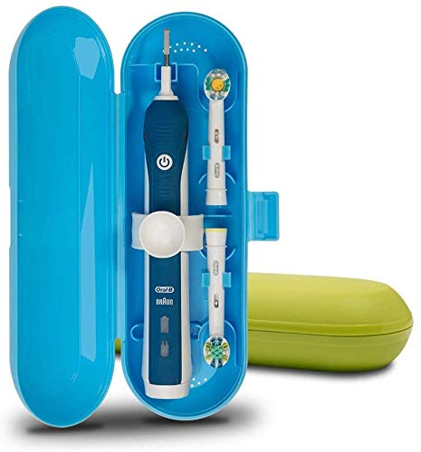 Reiseetui für elektrische Zahnbürsten von Oral-B Pro Serie, 2 Packungen (Blau/Grün)