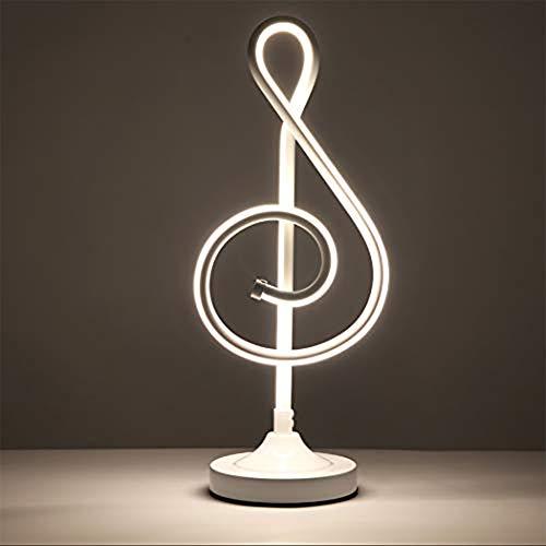 Lamp LED Tafel, Muzikaal Symbool Table Lamp Art Deco 21W LED-lamp ogen beschermen tegen tafel Slaapkamer, Kantoor, studeerkamer,White