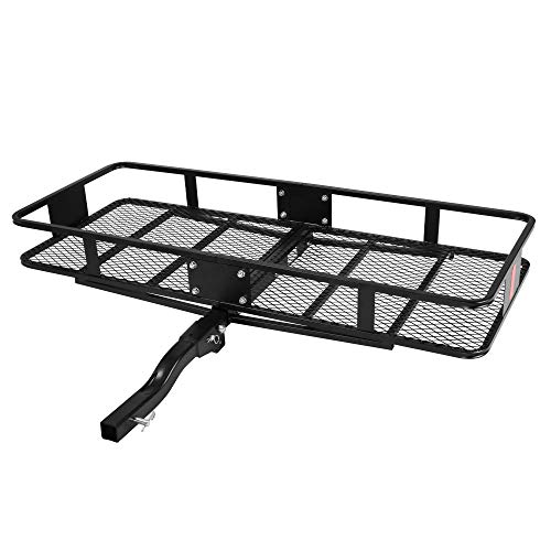 LUCKYERMORE 500LBS Capacity Folding Hitch Mount Cargo Carrier 60''x24''x6.5'' Hitch Cargo Rack Heavy Duty Cargo Carrier Luggage Basket Hitch Trailer Fits 2-Inch Receiver Cargo Hitch Hauler Rack Black