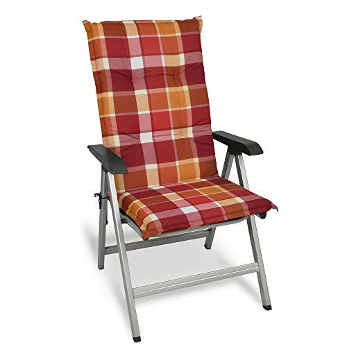 Beautissu Sunny RO Hochlehner Auflage für Gartenstuhl 120x50 cm in Rot Kariert - Bequemes Sitzkissen Polsterauflage UV-Lichtecht - weitere Designs erhältlich