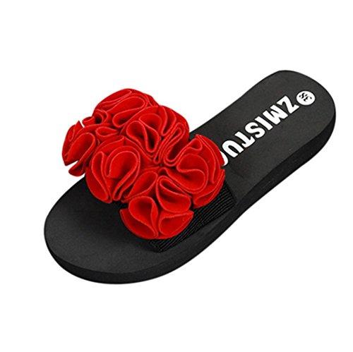 LONUPAZZ Chaussons Plage Femme été Fleur Sandales Pantoufles Chaussures De Maison Flip Flops (39, Rouge)