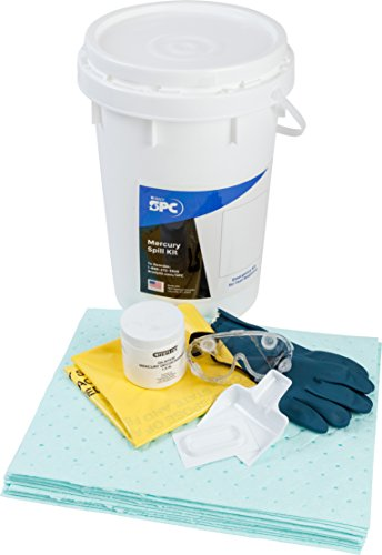 """Sorbent Products Company SK-MERC Brady SPC Mercury Spill Kit, 9 gal Absorbency, 18"""" Height, 14"""" Wide, 14"""" Length, White"""