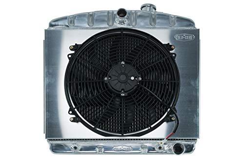Radiadores de caja fría CHT562AK Silver 55-57 Tri-5 Chevy Radiador y kit de ventilador de 16 pulgadas
