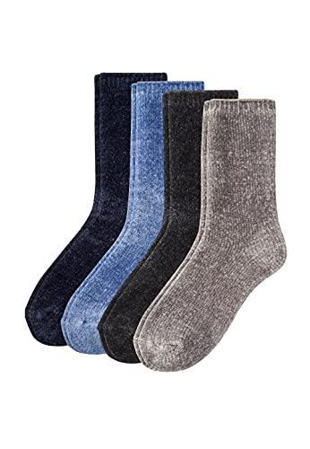 Camano Damen Socken 4er-Pack Cuddly in schlichten Designs black, 39/42