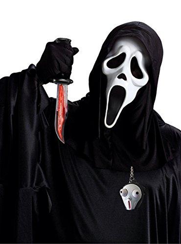 Cultica(TM) Scream Ghostface Kostüm Set Blut Messer Original Maske Kutte Handschuhe Waffe mit fließendem Blut Schlüsselanhänger