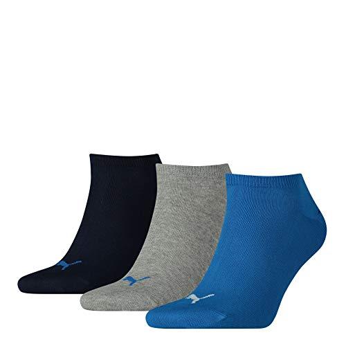 PUMA Sneaker Plain 3p Calze Sportive, Blu/Grigio Melange, 43/46 (Pacco da 3) Unisex – Adulto