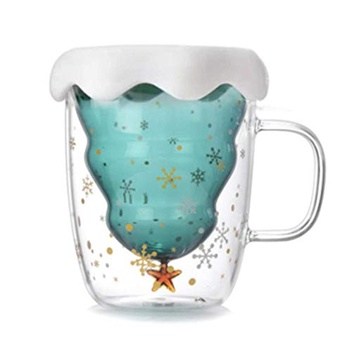 KWHY Creative 3D Transparant Dubbel Anti-brandwonden Glas Kerstboom Ster Cup Koffiekopje Melk Sap Cup Kerstcadeau Voor Kinderen, 3