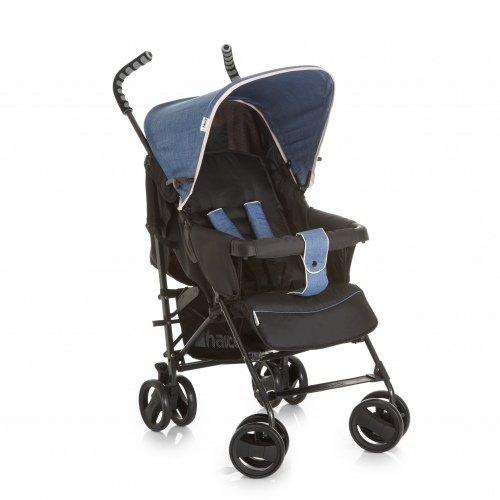 Hauck Sprint S Buggy, mit Liegefunktion, extra schmal zusammenfaltbar, für Kinder ab Geburt bis 15 kg, ergonomische Schiebegriffe, leicht, melange jeans caviar (schwarz blau)