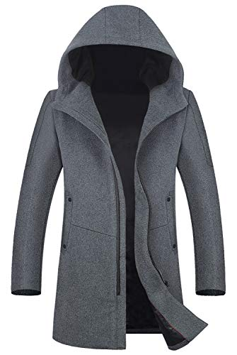 Men's Coat 80% Wool Content Classic Hooded Jacket Winter Stylish Trench Coat 1812 Gray M