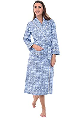 Alexander Del Rossa Women's Lightweight Cotton Kimono Robe, Summer Bathrobe, Medium Blue Moroccan Tile (A0515V56MD) by Alexander Del Rossa