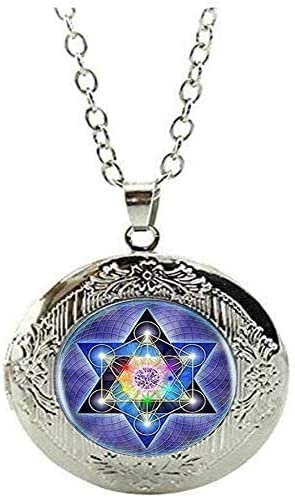 Sacred Geometry Handmade Locket Necklace Jewelry Gift Art Picture Jewelry