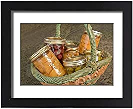 Media Storehouse Framed 15x11 Print of Wicker Basket of Home Canned Foods (Peaches, Olives and Cherries) (19320509)