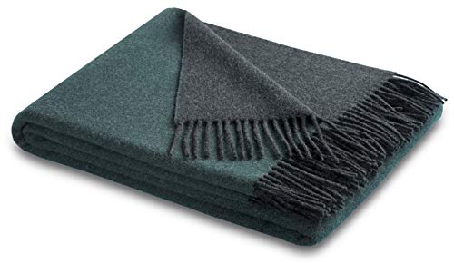 biederlack® samt weiche Kuschel-Decke Wool-Mix Petrol-anthrazit I Tagesdecke aus Wolle und Kaschmir I Öko-Tex Zertifiziert I Plaid in 130x170 cm   Sofadecke in grün-grau   Wohn-Decke in top Qualität