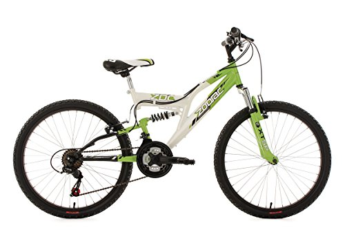 KS Cycling Kinderfahrrad Mountainbike Fully 24\'\' Zodiac grün-weiß RH38cm