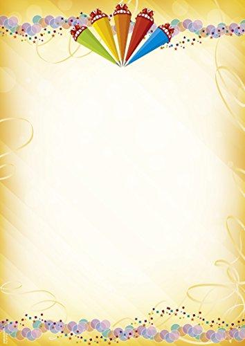 Briefpapier Zuckertüten, 50 Blatt DIN A4, 90 g/m², DP895, Schreibpapier, Zuckertüte, Schulanfang, Schuleinführung, Schultüte, Einladung, Dankesschreiben, Papier, Tischschmuck, Gutschein, Vordruck