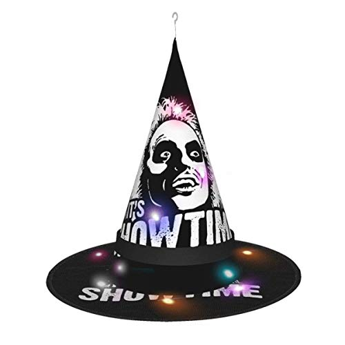 AOOEDM Sombrero de Bruja de Halloween Fiesta Cosplay Decoración It 's Showtime - Sombrero de Bruja Beetlejuice para Mujer Disfraz Accory Negro