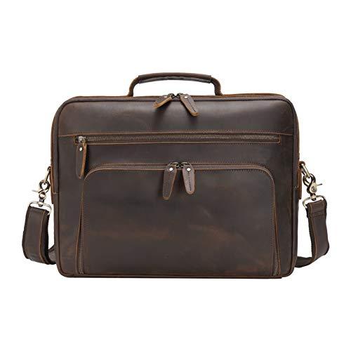 Vints Ledertasche Laptop Herren Laptoptasche 15.6 Zoll Leder Aktentasche Mehrzweck Travel Business Case Tablet 12.9 Zoll Tote Handtasche Satchel Braun
