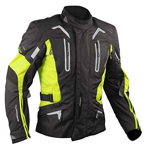 Blouson Moto Tissu Veste Impermeable Doublure Hivernale Reflechissant Fluo XXL