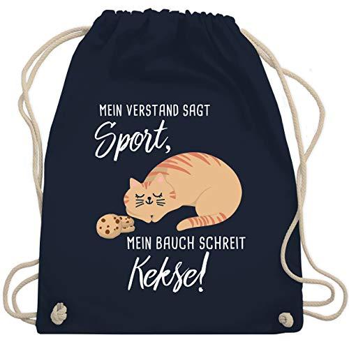 Shirtracer Statement - Mein Bauch schreit Kekse! Katze - Unisize - Navy Blau - sportbeutel orange - WM110 - Turnbeutel und Stoffbeutel aus Baumwolle