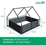 Quictent 49''x37''x36'' Extra-Thick Galvanized Steel Raised Garden Bed Planter Kit Box with Greenhouse 2 Large Zipper… 15 √【Dual Use Raised Bed】Use the raised garden bed and greenhouse together to keep plants warm and growing in winter and spring. Or move the greenhouse to keep other small plants to grow, do as your need. Give you more freedom to use these two parts. √【Extra-thick Reinforced Galvanized Steel】--- 0.5mm thickness galvanized side, 1.0mm galvanized sheet for corner, 11.8inch in height, perfect size with extra-thick steel, stable for using at least 5 years. √【Eco-friendly Galvanized Paint】--- Use eco-friendly galvanized paint, efficiently prevent rust; And with the advanced dark grey, the most popular color, give your garden more beauty. Also never worry about that pest and rain damage the wood garden bed; galvanized steel garden bed provides lasting use and no discoloration.