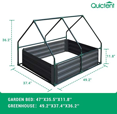 Quictent 49''x37''x36'' Extra-Thick Galvanized Steel Raised Garden Bed Planter Kit Box with Greenhouse 2 Large Zipper… 6 √【Dual Use Raised Bed】Use the raised garden bed and greenhouse together to keep plants warm and growing in winter and spring. Or move the greenhouse to keep other small plants to grow, do as your need. Give you more freedom to use these two parts. √【Extra-thick Reinforced Galvanized Steel】--- 0.5mm thickness galvanized side, 1.0mm galvanized sheet for corner, 11.8inch in height, perfect size with extra-thick steel, stable for using at least 5 years. √【Eco-friendly Galvanized Paint】--- Use eco-friendly galvanized paint, efficiently prevent rust; And with the advanced dark grey, the most popular color, give your garden more beauty. Also never worry about that pest and rain damage the wood garden bed; galvanized steel garden bed provides lasting use and no discoloration.