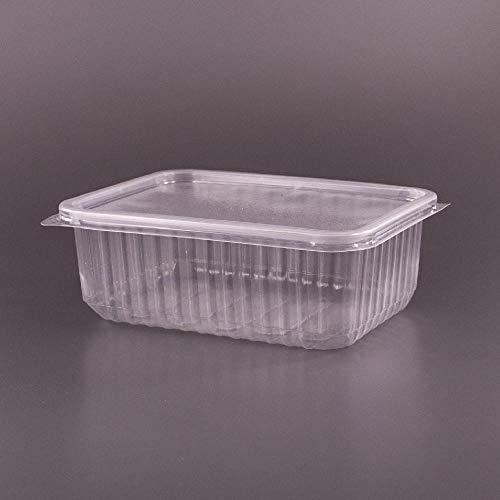 (Paquete de 100) 750 ml PP Envases grandes para ensaladas Comida rápida para llevar Caja desechable con tapas de plástico Almacenamiento (100, 750 ml)