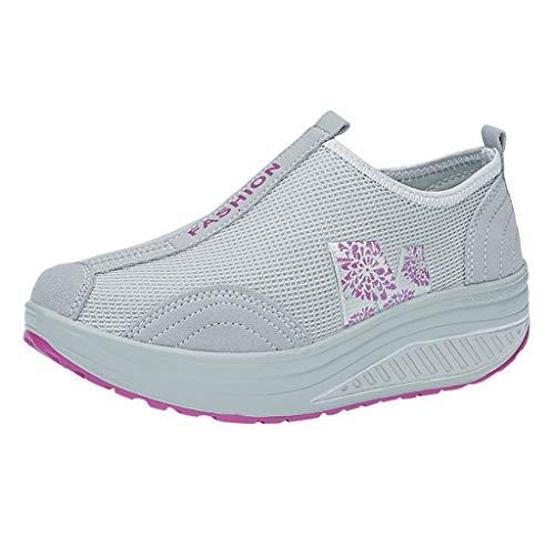 Schuhe Frauen Mode Mesh Erhöhende Schuhe Soft Bottom Rocking Walking Sneakers (40,Grau)