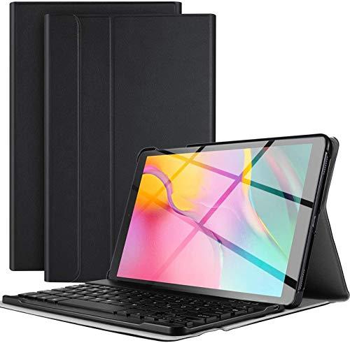 Funda con Teclado para Galaxy Tab A 10.1 2019 T510 T515 T517, Funda Delgada Y Liviana con Teclado Inalámbrico Desmontable Magnéticamente