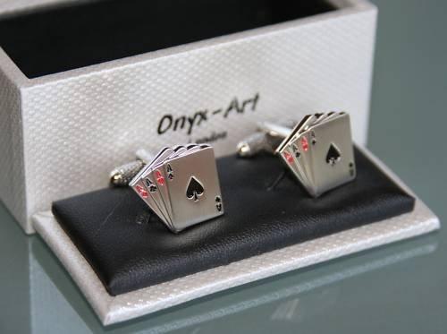 Boutons de manchette pour homme Motif cartes de Poker 4 AS en cadeau