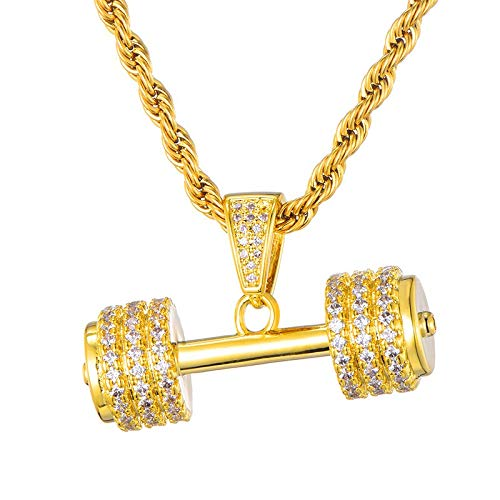 TUDUDU Iced out Rhinestone Rope Chain Chain Barbell Gym Fitness Dumbbell Color Dorado Colgantes Y Collares para Hombres Joyas Collar Longitud 60Cm