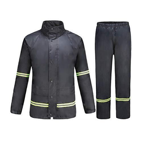 Gflyme Raincoat Rain Pants Set Split Outdoor Wind And Rain Raincoat Raincoat Portatile per Campeggio e Trekking (Blu Marino/Arancione) (Color : Navy, Size : XXXL)