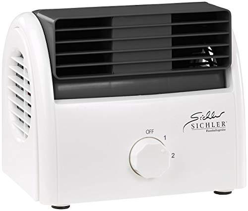 Sichler Haushaltsgeräte Kleiner Ventilator leise: Leiser Mini-Tischventilator, Walzen-Technologie, 2 Stufen, bis 35 Watt (Walzen Ventilator)