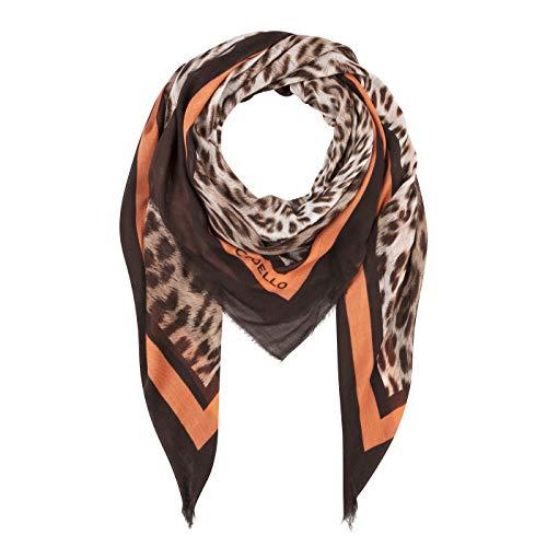 CODELLO Damen Tuch, Halstuch, Extrafein   Leo-Design   100% Modal   120 x 120 cm