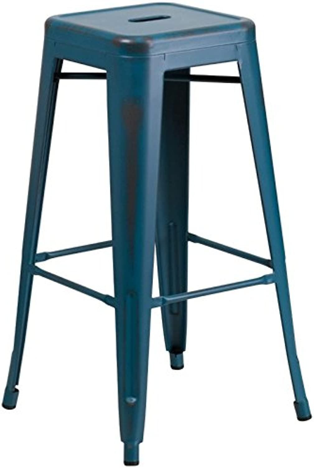 Bowery Hill 30  Metal Bar Stool in Distressed Kelly bluee