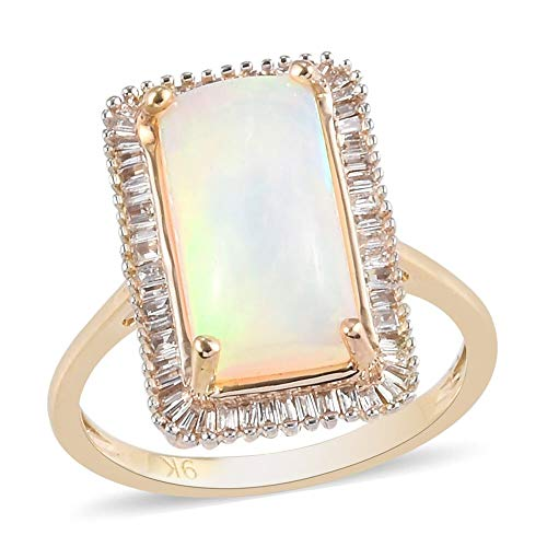 TJC Opal Halo Ring for Womens in 9ct Yellow Gold Anniversary/Wedding/Proposal Gemstone Jewellery Size O with White Diamond October Birthstone, TCW 2.8ct