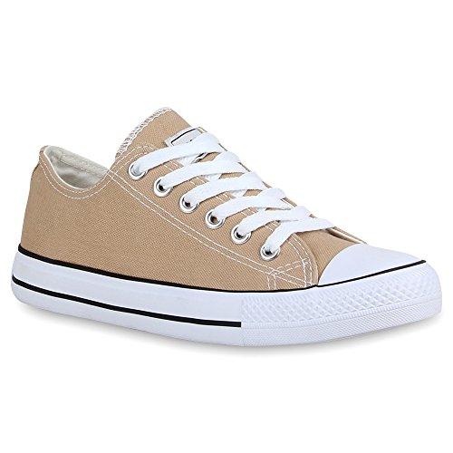 stiefelparadies Damen Sneakers Turn Freizeit Low Sneaker Übergrößen Prints Glitzer Denim Schuhe 54124 Khaki Ambler 44 Flandell