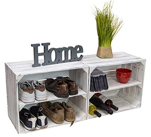 Cajas de madera de estilo shabby blanco, zapatero para manualidades, estanterías para niños y adultos, estantería estable en cajas de frutas, cajas de vino, 2 unidades