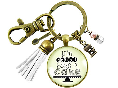 Gutsy Goodness Baker Keychain If In Doubt Make Cake Pastry Foodie Lover Womens Gift Tassel Jewelry