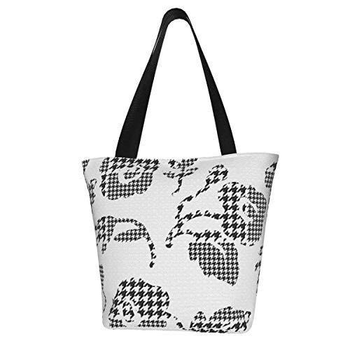 Abstract Flowers Houndstooth Plaid Handbags for Women Tote Shoulder Bag Waterproof Big Capacity Zippered Shoulder Handbag for Travel Work School Shopping Beach