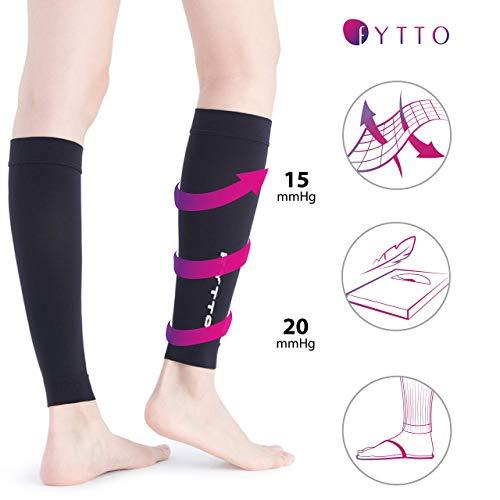 FYTTO 1022 fußlose Kompressionsstrümpfe – Klasse 1 – kniehohe Stützstrümpfe ohne Fuß | medizinische Kompressionsstulpen mit abgestufter Kompression 15 – 20 mmHg | weiß | L - 4