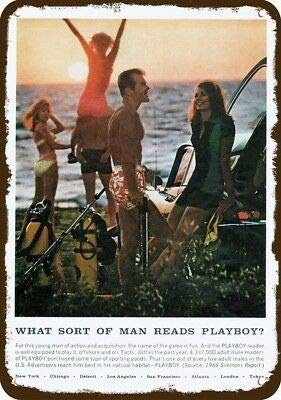 Laptopo 1966 Playboy Man Vintage Look Replica Metal Sign - Beach Scuba Diver Diving Dive
