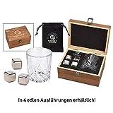 WOMA - 4 Whisky Steine Edelstahl + Whisky Glas + Holz Geschenkbox + Samtbeutel - Edelstahl Eiswürfel wiederverwendbar, geschmacksneutral & Kühlung ohne Verwässern - Für Whiskey, Wodka, Gin & Mehr